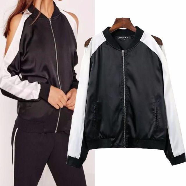 41429 - Black White Silky Jacket