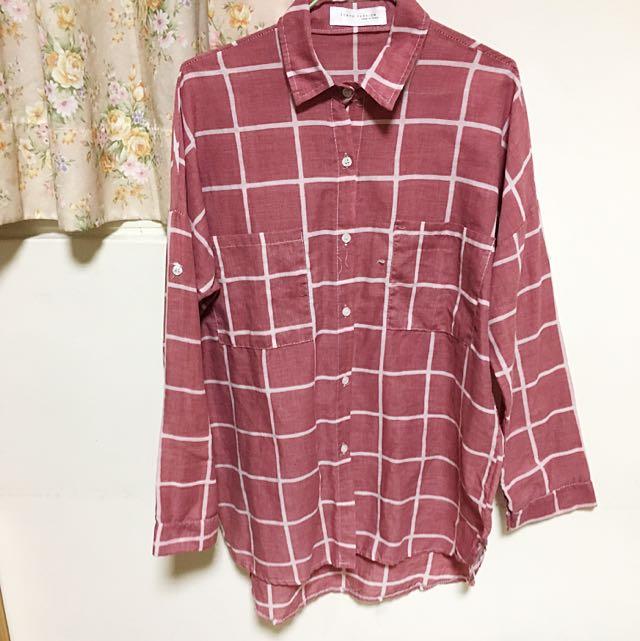 (預留)中長版粉格襯衫
