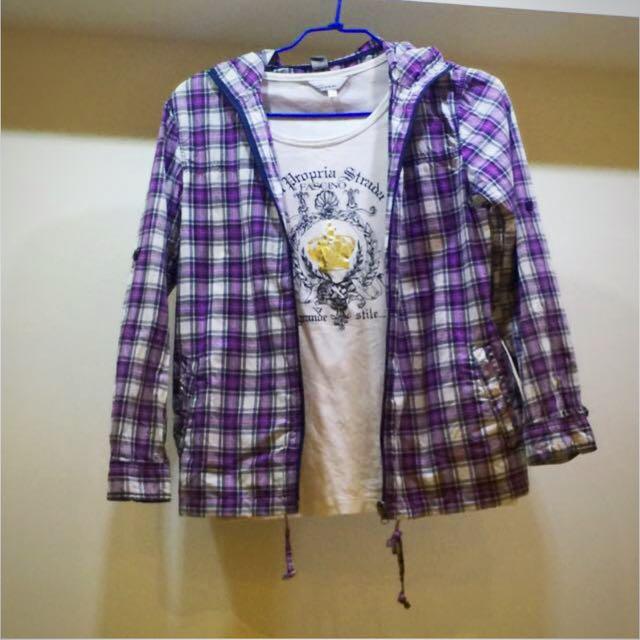 紫色學院風格子外套