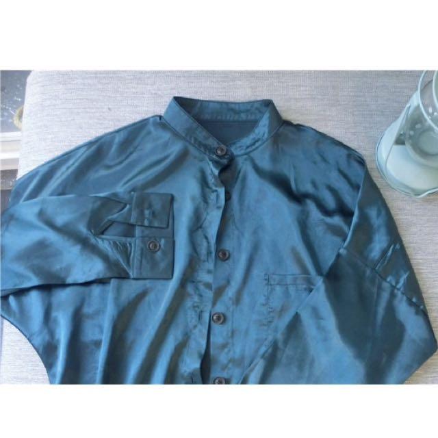 降價!墨綠色/湖水綠 絲絨質感寬鬆襯衫