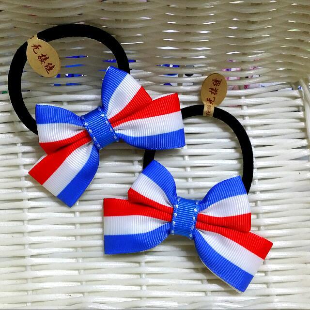 🎀卉琳手作🎀 紅藍白彩條 蝴蝶結髮束 兒童 舞會 萬聖節 聖誕節 跨年