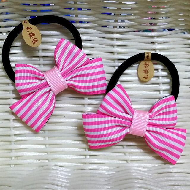 🎀卉琳手作🎀 粉紅彩條 蝴蝶結髮束 兒童 舞會 萬聖節 聖誕節 跨年