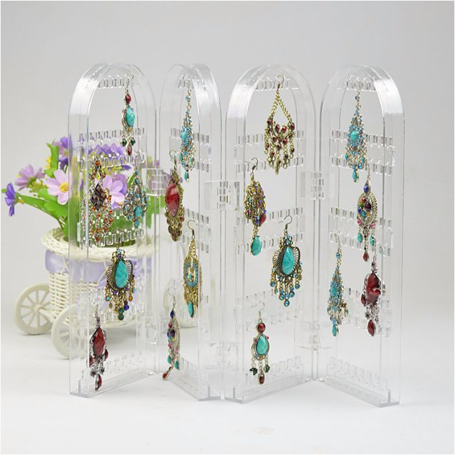 Acrylic Clear and Black Jewelry Earrings Ear Stud 240 Hole Showcase Display Holder Stand