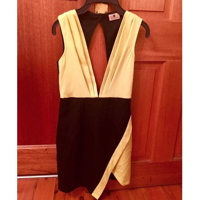 Bright lime (yellow) and black club dress