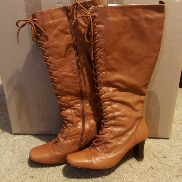 Brown Long Leather Boots