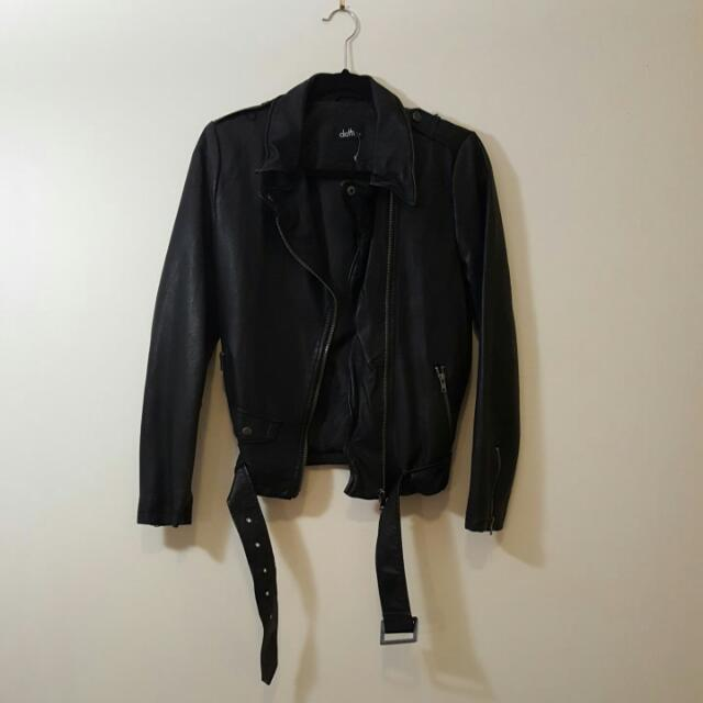 NWOT Dotti Black Faux Leather Jacket Relaxed Fit Size 8