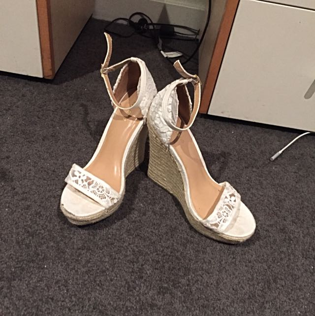 Express White Lace Wedge Heels