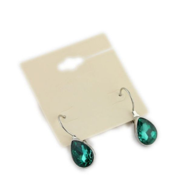 Exquisite Green Rhinestone Water Drop Hoop Earrings