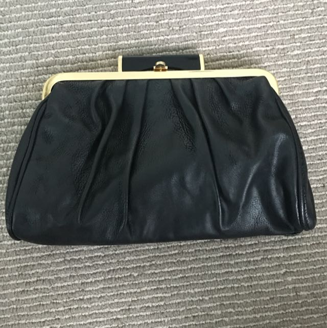 Gold And Black Clasp Clutch