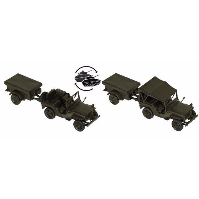 "[H0 1/87] Military - ""Willy's Jeep"" + M 100 US-Army [miniTank] NEW"
