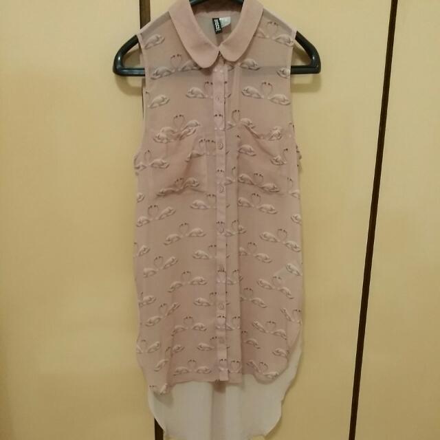 H&M透膚雪紡滿版天鵝印花無袖襯衫-藕粉色