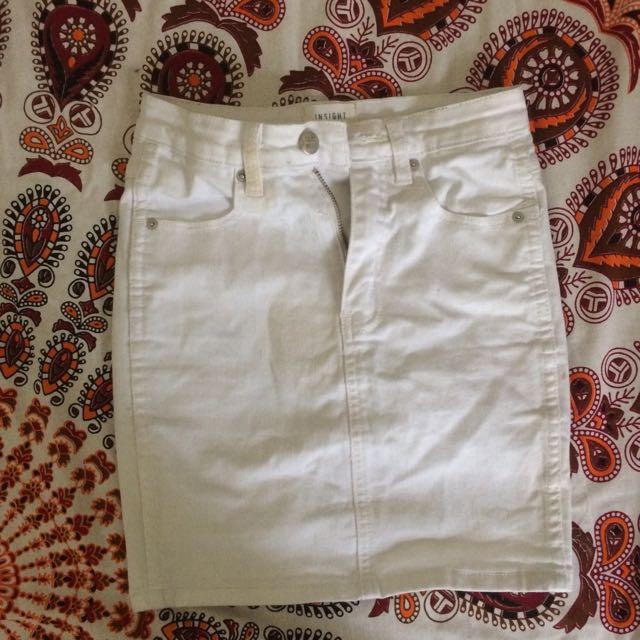 INSIGHT DENIM - White Denim Skirt