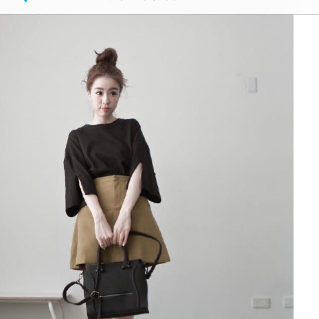 Lulus銅釦磨毛A字短裙