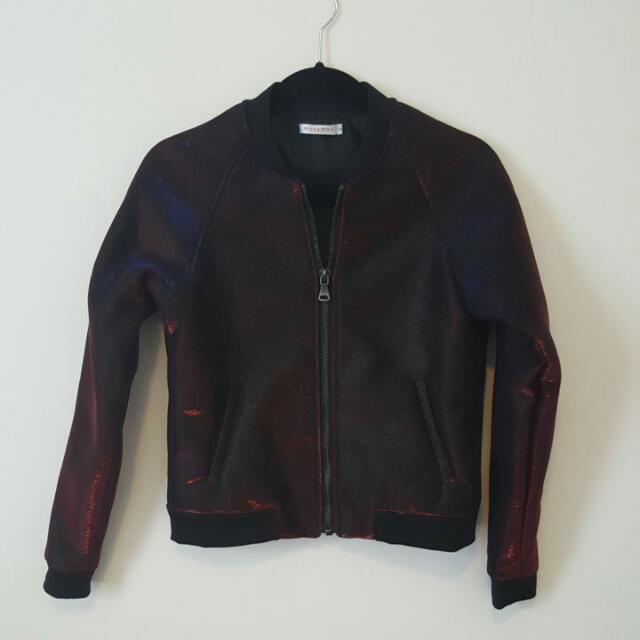 NWOT Mossman Wet-Look Bomber Metallic (Red, Blue & Black)