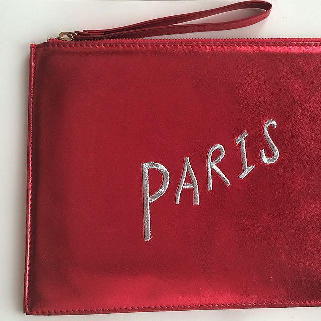 Paris Red Clutch