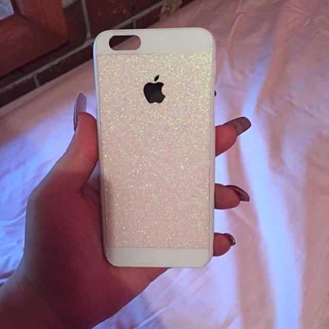 Phone 6 6s White Glitter Phone Case