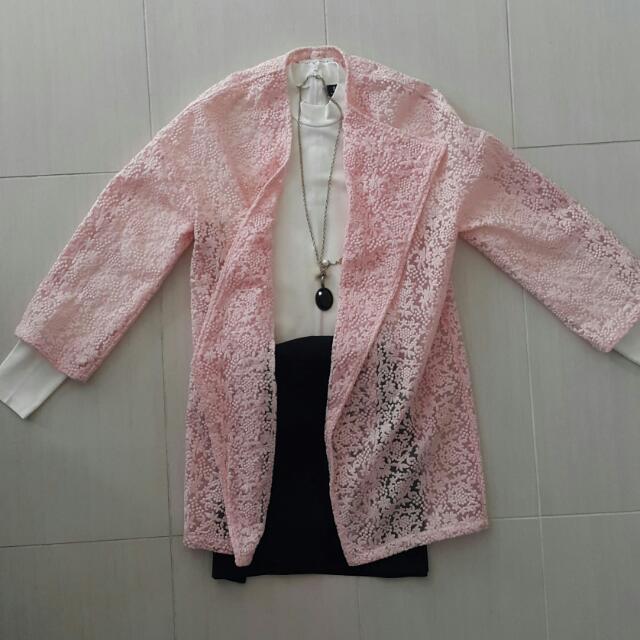Pink Drape Longline Jacket Irregular Cut