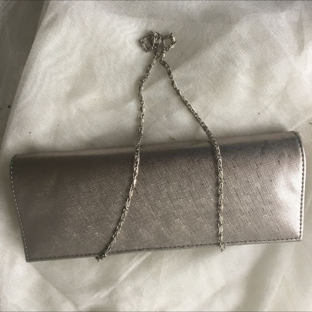 Pre-loved Silver Grey Clutch With Grey And White Crystal