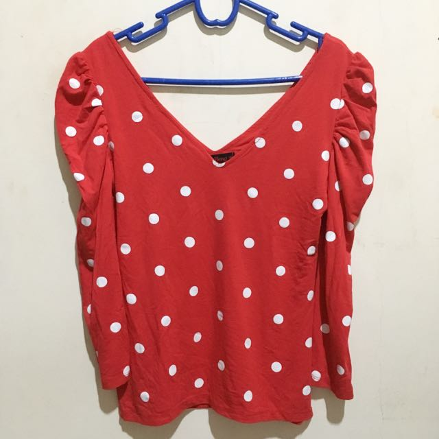 Red Polka V Neck Top