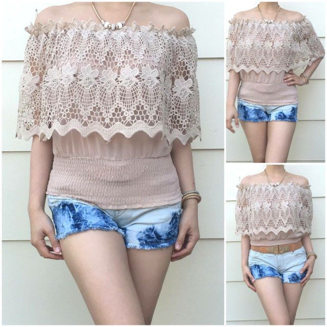 Size 6-10 Khaki Lacey Off Shoulder Top