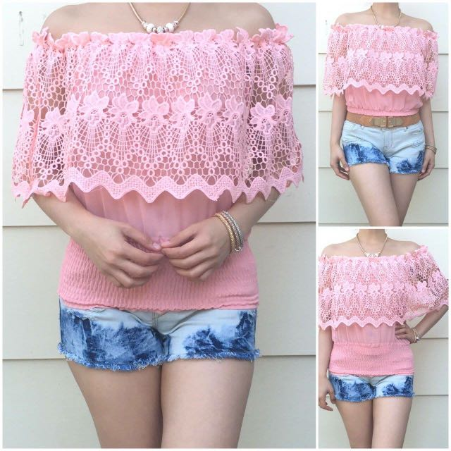 Size 6-10 Light Pink Lacey Off Shoulder Top