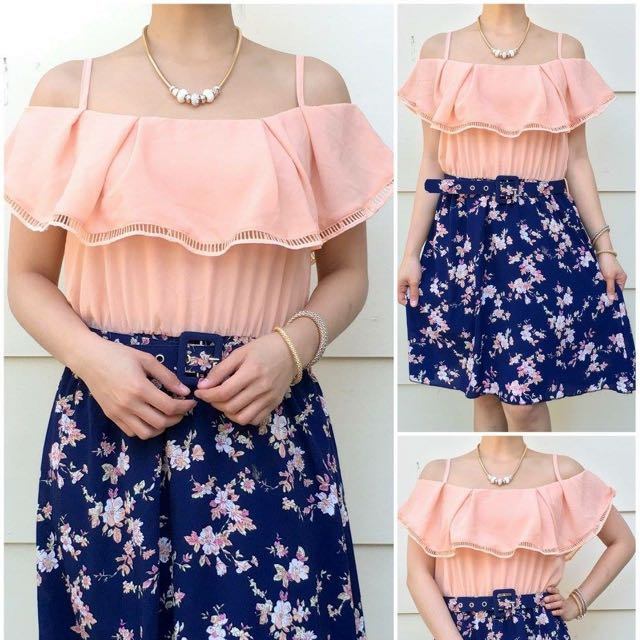 Size 8-10 Peach Offshoulder Floral Dress