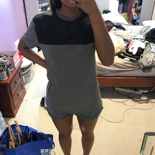 TOPSHOP Grey & Leather Tee