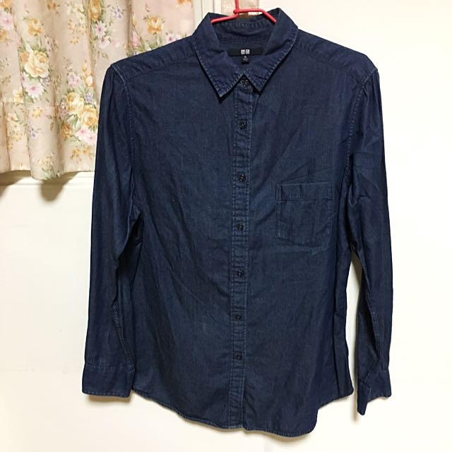 Uniqlo深藍牛仔襯衫
