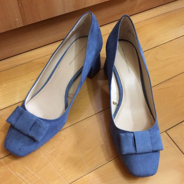 Z͟a͟r͟a͟ 麂皮顯白藍色粗跟鞋