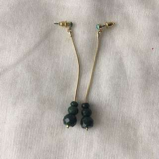 Golden And Green Earrings