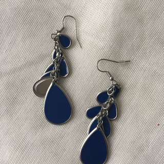 Silver And Blue Earrings