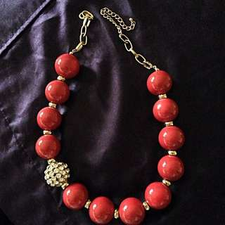 Necklace- Magenta Beads with stone embellishments