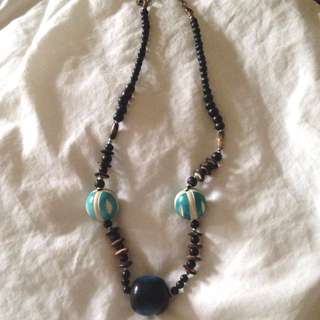 Necklace- Black and Turquoise Beads
