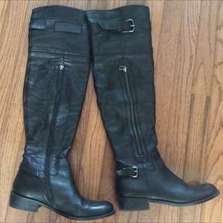 """22"""" Over The Knee Leather Boots, Size 8"""