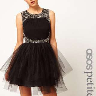 ASOS PETITE Exclusive Dress With Tutu Skirt And Embellishment