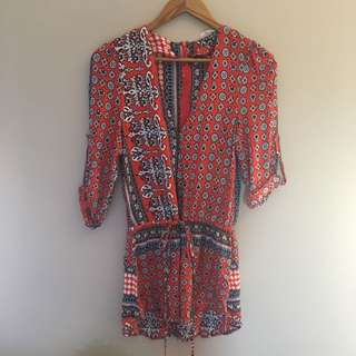 Women's Ladies Playsuit Red Paisley Patterned Low Neck