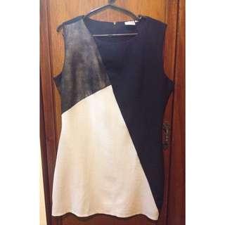 Office Dress Black, White & Snake Skin