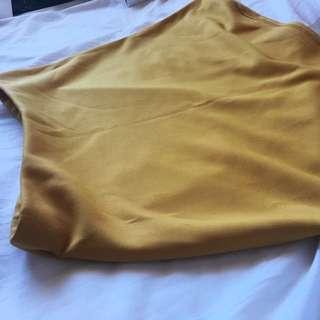 Women's High Waisted Mustard Yellow Skirt
