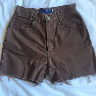 Women's Vintage High Waisted Denim Shorts Brown