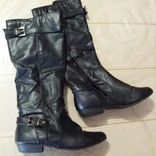 Black Faux Leather Buckle Boots - Size 8