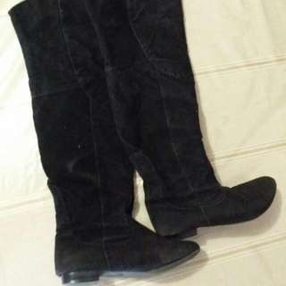 Black Faux Suede Knee High Boots - Size 8