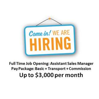 Full Time Job Opening: Assistant Sales Manager