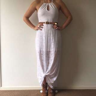 White Halter Neck Maxi Dress