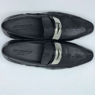 Italian luxury mens shoes casual loafers genuine leather black flats
