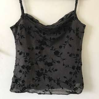 90s Grey And Black Floral Top