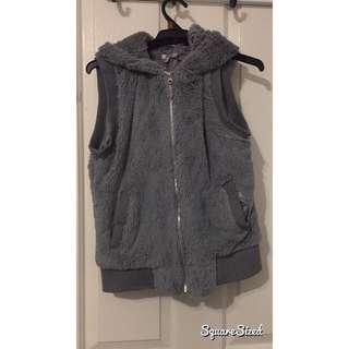 Grey Fluffy Vest