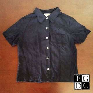 Dark Blue Buttoned-down Top