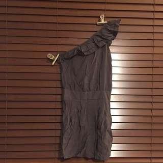 Grey One Shoulder Mini Dress