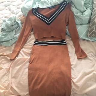 *Pending* Paper Hearts Brown Two Piece