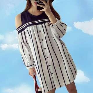[全新減價] 露膊間條one Piece連身裙